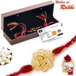 Lovely Floral Cut OM Rakhi with Real Diamond Stud