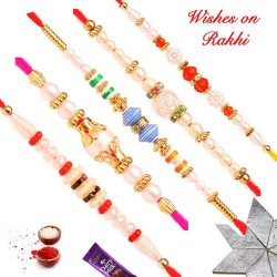Lovely Set of 5 Pearls Beads and Crystal Rakhis