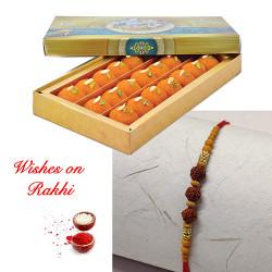 Motichoor Laddoos with Exclusive Rudraksh Rakhi