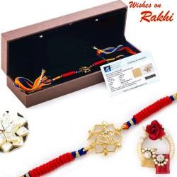 Real Diamond Stud Floral Cut Gold Plated OM Rakhi
