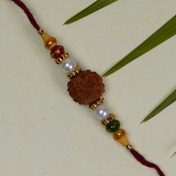 Rudraksh with Pearls and Beads work Rakhi