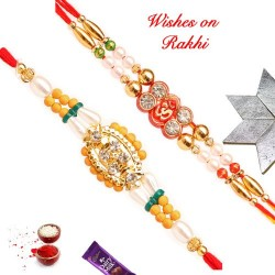 Set of 2 AD and OM Rakhis with Pearls and Beads