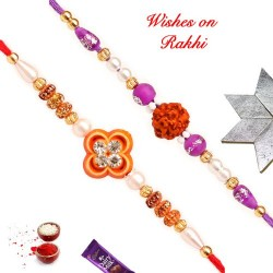 Set of 2 AD and Rudraksh with Colored Beads and Pearls Rakhis