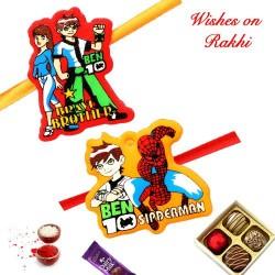 Set of 2 Ben 10 and Spiderman Kids Rakhi