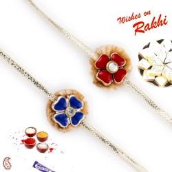 Set of 2 Blue and Red Floral Motif Rakhi
