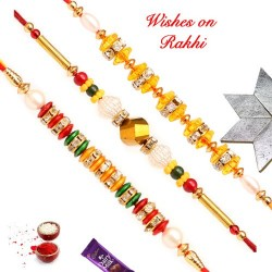 Set of 3 AD Pearls and Beads Rakhis