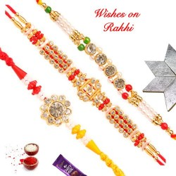 Set of 3 AD Pearls and Colored Beads Rakhis