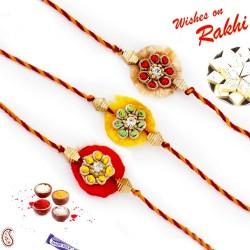 Set of 3 Colorful Stones Studded Resham Rakhi