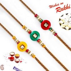 Set of 3 Crystal Stone Multicolor Beads Rakhi