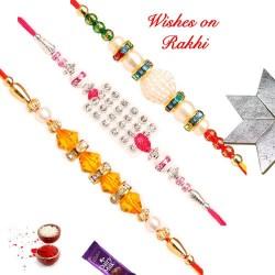 Set of 3 Crystals AD and Pearls Rakhis