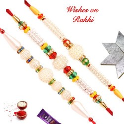 Set of 3 Designer Pearls Rakhis with AD and Beads