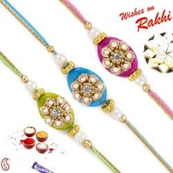 Set of 3 Elegant Fluorescent Colour Pearl Rakhi