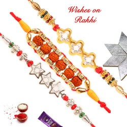 Set of 3 Exclusive American Diamonds and Rudraksh Rakhis