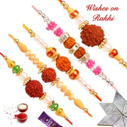 Set of 5 Divine Rudraksh Rakhis with Pearls and Beads