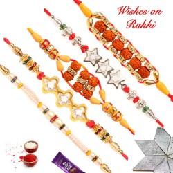 Set of 5 Exclusive Rudraksh Pearls and AD Rakhis