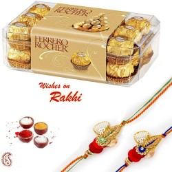 16 Pc Ferrero Rocher Box with 2 Bhaiya Rakhi