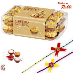16 Pc Ferrero Rocher Box with 2 Rakhi