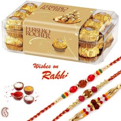 16 Pc Ferrero Rocher Box with 3 Bhaiya Rakhi