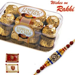 16 Pc Ferrero Rocher Box with Elegant Rakhi