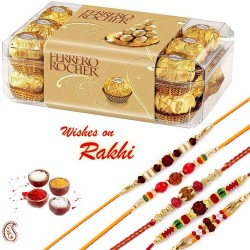16 Pc Ferrero Rocher Box with Set of 5 Rudraksh Rakhi