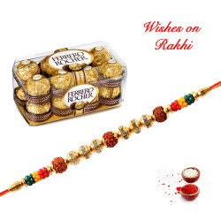 16 Pcs Ferrero Rocher Box with Rudraksh and AD Rakhi