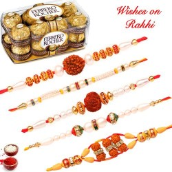 16 Pcs Ferrero Rocher Box With Set of 5 Handcrafted Rakhis