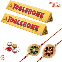 2 Pc Toblerone with Set of 2 Rakhi Hamper