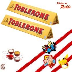 2 Pc Toblerone with Set of 3 Kids Rakhi Hamper