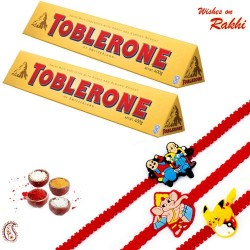 2 Pc Toblerone with Set of 3 Kids Rakhi Hamper