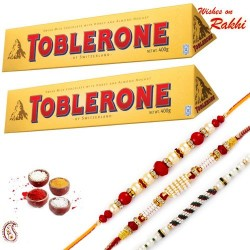 2 Pc Toblerone with Set of 3 Rakhi Hamper