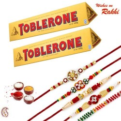 2 Pc Toblerone with Set of 5 Rakhi Hamper