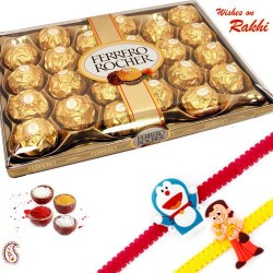 24 Pc Ferrero Rocher Box with Set of 2 Kids Rakhi