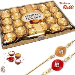 24 Pc Ferrero Rocher Box with Set of 2 Rakhi