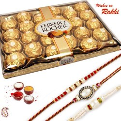 24 Pc Ferrero Rocher Box with Set of 3 Rakhi