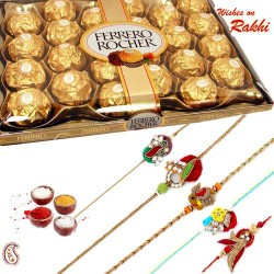 24 Pc Ferrero Rocher Box with Set of 5 Zardosi Rakhi