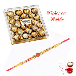 24 Pcs Ferrero Rocher Box with Rudraksh and AD Rakhi