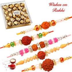 24 Pcs Ferrero Rocher Box with Set of 5 Fancy Rudraksh Rakhis