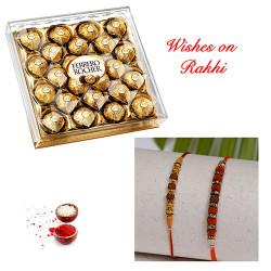 24 Pcs Ferrero Rocher with Set of 2 Premium Handcrafted Rakhis