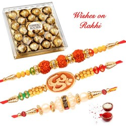 24 Pcs Ferrero Rocher with Set of 3 Rudraksh OM and Pearls Rakhis