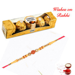 4 Pcs Ferrero Rocher Box with 5 Rudraksh with AD Studded Rakhi