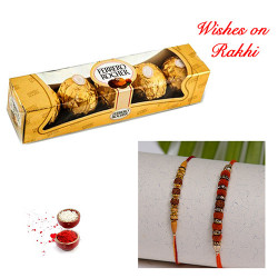 4 Pcs Ferrero Rocher with Set of 2 Handcrafted Rakhis