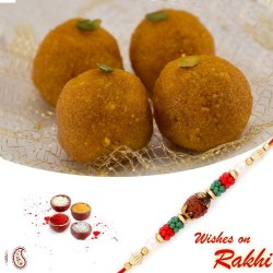 500 Gms Delicious Boondi Laddu Pack with Bhaiya Rakhi