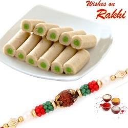 500 Gms Kaju Pista Roll Sweet Pack with Bhaiya Rakhi