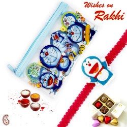 Cute Doremon and Family Pouch Box and Rakhi Kids Hamper