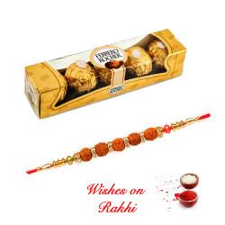 4 Pcs Ferrero Rocher Box with 5 Rudraksh with AD Studded Rakhi