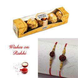 4 Pcs Ferrero Rocher with Set of 2 Handcrafted Rakhis