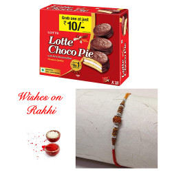 Lotte Choco Pie with Rudraksh AD and Pearls Rakhi