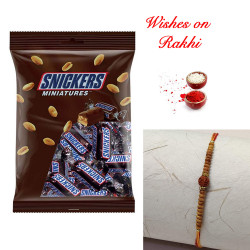 Snickers Miniatures Pack with Rudraksh AD and Pearls Rakhi