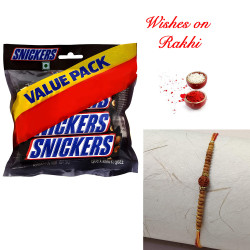 Snickers Value Pack with Divine Rudraksh Rakhi for Bhaiya