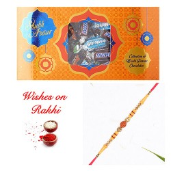 Snicker Bounty and Mars Combo Pack with Rudraksh AD Rakhi